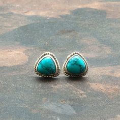 Turquoise Stud Small Earrings Turquoise Triangle by SunSanJewelry