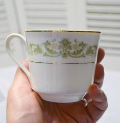 Vintage Style House Contessa Coffee Tea Cup Green Floral Scrolls Gold Rim Japan Replacement Wedding Panchosporch Vintage Style, Vintage Fashion, Scroll Pattern, Vintage China, Tea Cups, Japan, Coffee, Tableware, Floral