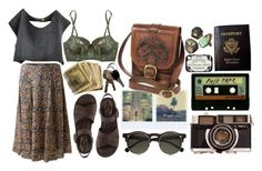 """""""Adventure Is Out There."""" by hippierose ❤ liked on Polyvore featuring EAST, Kork-Ease, Elle Macpherson Intimates, Carven, Polaroid, INDIE HAIR, Passport and vintage"""