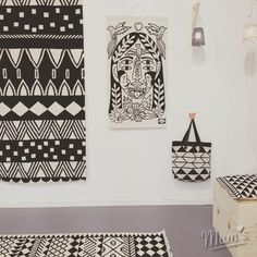 Wallhanging by Ricardo Cavolo for MUM's.  Rugs, bags and lampshades by MUM's. Thank You.