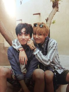 Dis is so cute! The two youngest members. I like how V is just making Jungkook super young with the cheek pinch thing.