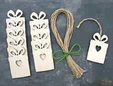 10 x Wooden Present Gift Tag Shape Birthday Wedding Christmas Decoration