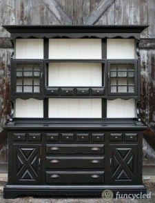Gorgeous Large Black and White Hutch or China Cabinet Refurbished Hutch, Refurbished Furniture, Painted Furniture, Upcycled Furniture, Black Hutch, White Hutch, Furniture Layout, Furniture Design, Kids Furniture