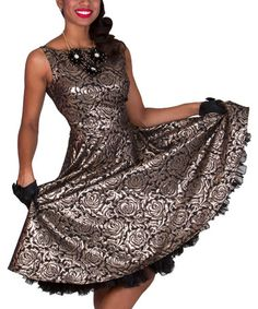 Love this Black & Copper Silver Roses Dress - Women & Plus by Tatyana on #zulily! #zulilyfinds