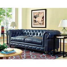 Shop for Durango Rustic Blue Leather Sofa. Get free shipping at Overstock.com…
