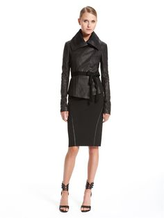 Stretch Leather Jacket - This body conscious leather jacket offers warmth without sacrificing style. Wear open or zipped, as shown. 100% Lamb Skin Leather (Skin from Italy) Garment Imported from Italy. Spot clean by leather specialist only. http://www.donnakaran.com/shop-ready-to-wear/jackets-and-outerwear/a43j675gc1/stretch-leather-jacket?p=0