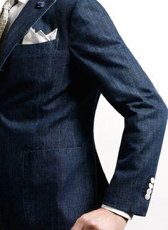 thestylebuff: Denim jacket, White Pocketsquare, Lapel Flower, Lardini (Source: thestylebuff)