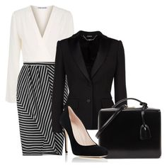 """""""Black and Cream Business Attire"""" by hisprincess2017 on Polyvore featuring Elizabeth and James, Miss Selfridge, Alexander McQueen, Mark Cross and Barneys New York"""