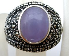 Sterling Silver Amethyst Marcasite Ring Size 9 925 Wide Faux Gemstone