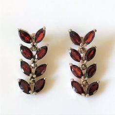 Silver, Garnet & Marcasite Drop Earrings Vintage Jewellery, Marcasite, Garnet, Cuff Bracelets, Drop Earrings, Sterling Silver, Antiques, Jewelry, Granada