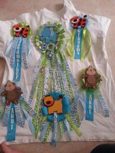 Safari themed boy mum set Mom to be (center) elephant Aunt mums ( bottom) monkeys Grandma/Grandmother mums (top) tigers