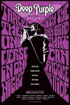 Deep Purple – Halifax Poster by Jeff Quigley, via Behance – Rock Music Rock And Roll, Pop Rock, Hard Rock, The Beatles, Rock Band Posters, Guns N' Roses, Vintage Concert Posters, Psychedelic Rock, Tour Posters