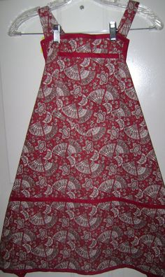 Bib Apron Fans on Red 2051 by TheKraftyKats on Etsy (Accessories, Apron, apron, women's apron, apron with fans, hostess apron, cooking apron, handmade apron, accessories, Mother's Day apron, Grandma's apron, bib apron, full apron, gift apron, Mom's gift apron)