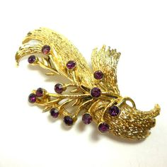 Gold Purple Brooch Vintage amethyst Rhinestones Modern Spray by JewlsinBloom on Etsy