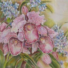 Flowers Original Painting on Silk by SilkPaintingAu on Etsy