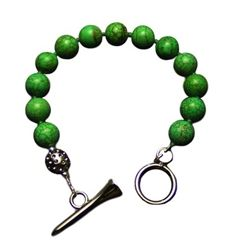 Sporty Chic green turquoise golf tee toggle bracelet. Great golf gift. $67