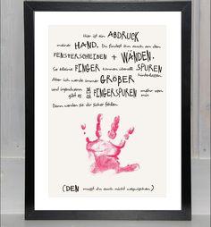 """Drucke & Plakate - Handabdruck - Baby, Kind: """"Meine Hand für dich"""" - ein Designerstück von beiwerk bei DaWanda"""
