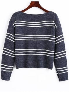 Long Sleeve Stripes Pullover Sweater - STRIPE ONE SIZE