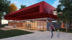 Bloco de Exposições em Dores do Rio Preto. Tijolinho, vidro, estrutura metálica bordô e concreto compõem a construção. Apesar de possuir uma paleta de cores e materiais variada, as linhas ortogonais fazem com que a arquitetura continue leve e simples. #arquitetura #architecture #vidro #glass #tijolinho #brick #estruturametálica #metalicstructure #3dmax #vray #render