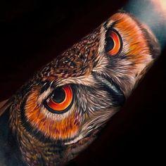 Skin Giants - The Best Tattoos ( Elbow Tattoos, Red Tattoos, Tattoos For Guys, Sleeve Tattoos, Cool Tattoos, Tattos, Tigeraugen Tattoo, Owl Eye Tattoo, Mens Owl Tattoo