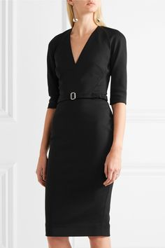 Victoria Beckham | Belted stretch cotton-blend crepe dress | NET-A-PORTER.COM