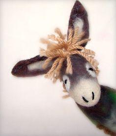 Donkey felt marionette, by TwoSadDonkeys, etsy @Jamilyn Cole