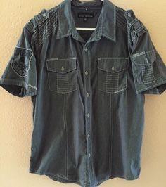 Affliction Black Premium Black White Striped s s Button Up XL Unique | eBay