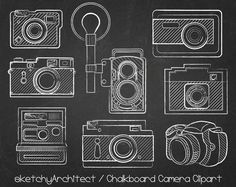 Chalkboard Camera Clipart ( Digital ) - Instant download   Chalk board Cameras Clip Art Vintage Camera Clipart (4.50 USD) by thatProps Chalk Talk, Chalk Board, Camera Clip Art, Chalkboard Ideas, Vintage Cameras, Scrapbook, Hand Lettering, Vw Bugs, Flourishes