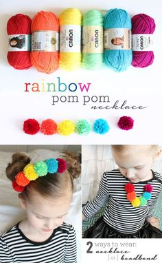 Sewing Ideas For Kids Rainbow Pom Pom Necklace - Make this simple DIY pom pom necklace for St. Patrick's Day or anytime. You can wear it 2 ways. Find the full tutorial here. Diy Gifts For Kids, Diy For Kids, Crafts For Kids, Arts And Crafts, Yarn Crafts Kids, Sand Crafts, Pom Pom Headband, Pom Poms, Diy Headband