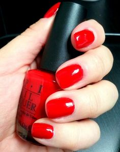 "OPI - ""Big Apple Red"" have this on now. Love it OPI – ""Big Apple Red"" have this on now. Love it … OPI – ""Big Apple Red"" have this on now. Opi Red Nail Polish, Nail Polish Colors, Ten Nails, Super Nails, Nagel Gel, Manicure And Pedicure, Beauty Nails, Beauty Makeup, Polka Dot Nails"