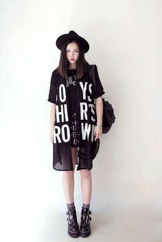 blouse black white letters print long oversized kstyle urban grunge indie rock dark streetstyle streetwear korean style korean fashion
