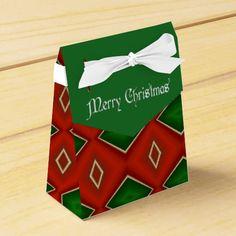 Merry Christmas Diamond Pattern Favor Box