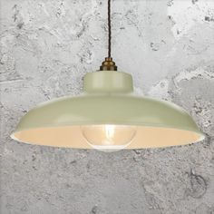 Large Dome 1 Light Metal Cream Industrial Pendant Light with Antique Brass inner shade and chain. Ideal for Vintage Globe Edison Lamps. Plug In Pendant Light, Industrial Pendant Lights, Kitchen Pendant Lighting, Industrial Light Fittings, Vintage Industrial Lighting, Lighting Uk, Lighting Ideas, Copper Ceiling, Green Cream