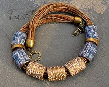 Polymer clay jewelry Denim dreams