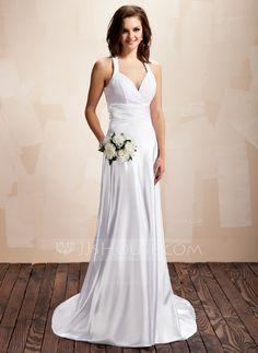 - $135.99 - A-Line/Princess Halter Court Train Charmeuse Lace Wedding Dress With Ruffle (002012054) http://jjshouse.com/A-Line-Princess-Halter-Court-Train-Charmeuse-Lace-Wedding-Dress-With-Ruffle-002012054-g12054