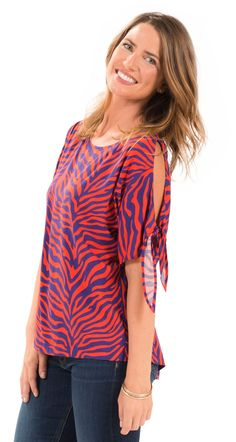 2c84e2fd9976f4 Short Sleeve Alyssa Cold Shoulder Top - Orange and Purple