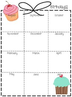 birthday chart template for classroom - blank class lists social studies students and school