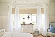 Affordable textured jute-like roller shades - as seen in TIDBITS master bedroom reveal. Bay Window Blinds, Kitchen Window Blinds, Window Curtains, Bedroom Curtains, Window Trims, Bedroom Windows, Cozy Bedroom, Master Bedroom Makeover, Master Bedroom Design