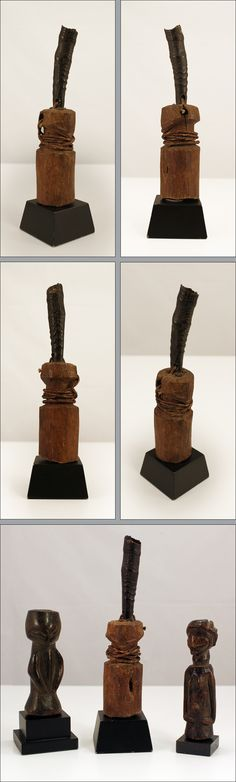 """Half figure, Songe, Democratic Republic of Congo.  This is a fine old miniature power half figure """"nkisi"""" without limbs, simplified facial features, rope around the neck and an animal horn on top of the head.   Wood, middle brown patina, min. dam., cracks, traces of abrasion, on wooden base.  Height without base: 15 cm - 5.9 inches."""