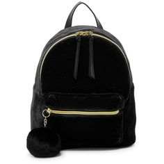 T-Shirt & Jeans Velvet Backpack with Pompom ($25) ❤ liked on Polyvore featuring bags, backpacks, black, handle bag, strap backpack, backpack bags, zip top bag and pom pom bag