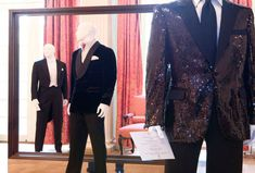 The London Cut: Japan Exhibition // (foreground) Richard Anderson black sequin Dinner Jacket originally tailored for Bryan Ferry.