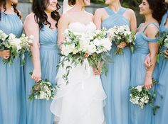 White & Green Signature Bridal Party  Bouquets  Christine Pienaar Photography