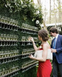Champagne wall for guests! Love this!