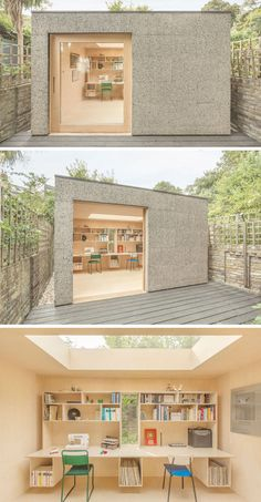 Cork cladding covers the exterior of this backyard work shed to reduce the impact on the landscape, insulate the shed, and provide protection from the elements. The birch plywood interior of the office is made extra bright by the large skylight in the middle of the roof.