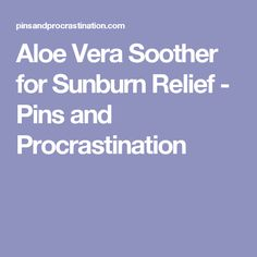 Aloe Vera Soother for Sunburn Relief - Pins and Procrastination