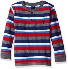 U.S. Polo Assn. Boys' Big Boys' Long Sleeve Henley Shirt, Stripe Engine Red, 18