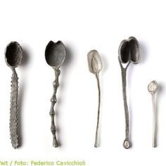 """Spoon from the creatura serie"" by Gabi Veit. Ceramic Spoons, Wooden Spoons, Silver Spoons, Schmuck Design, Contemporary Jewellery, Metal Art, Metal Working, Jewelry Art, Clay"