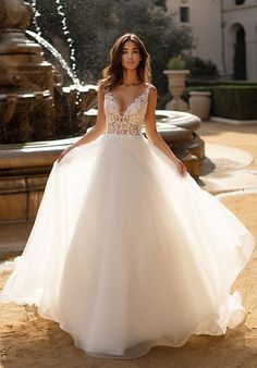 wedding dress princess Moonlight Collection is a tulle bridal ball gown with a soft horsehair hem and lace bodice. The dreamy tulle skirt is paired with just the right amount of crystals and beading on the bodice, giving this gown a princess bridal look. Princess Bridal, Princess Ball Gowns, Princess Wedding Dresses, Modest Wedding Dresses, Bridal Dresses, Disney Princess, Wedding Dress Black, Wedding Dress Trends, Elegant Wedding Dress