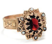 Victorian Garnet & Seed Pearl Ring Ca. 1880 ~ I this! Edwardian Jewelry, Antique Jewelry, Vintage Jewelry, Vintage Rings, Vintage Wear, Garnet Jewelry, Pearl Jewelry, Jewlery, Pearl Bracelets