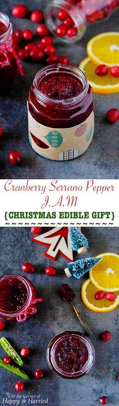 Cranberry Serrano Pepper Jam {Christmas Edible Gift}
